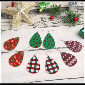 Faux Leather Christmas Earrings